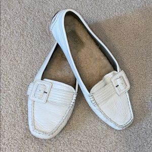 UGG White Leather Loafers